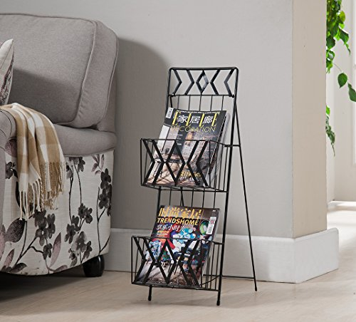 (Kings Brand Furniture Black Finish Metal 2 Tier Magazine Rack Stand)
