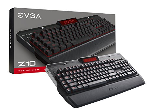 EVGA Z10 Gaming Keyboard, Red Backlit LED, Mechanical Blue Switches, Onboard LCD Display, Macro Gaming Keys, 802-ZT-E101-KR by EVGA