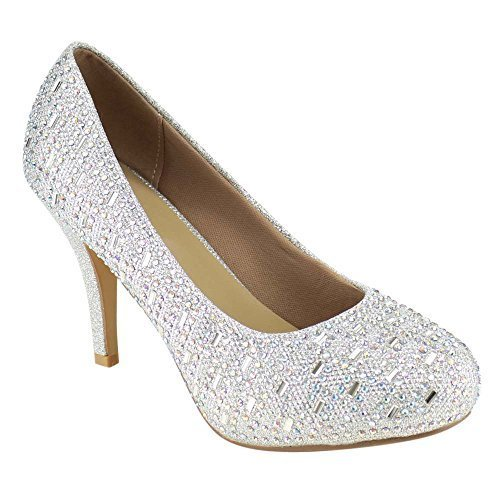 Beston GB28 Women's Glitter Rhinestone Slip On Party Heels About Half size large, Color:SILVER, Size:7.5