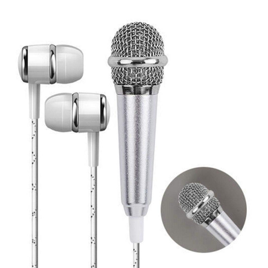 Mini Karaoke Condenser Microphone Vocal/Instrument with Earphone for Phone Computer Mini Microphone with Holder Clip (Silver)
