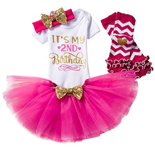 (Baby Girl It's My 1st/2nd Birthday Cake Smash 3/4Pcs Shinny Sequin Bow Romper+Tutu Skirt+Headband+Leg Warmer Outfit, 4pcs 2nd Birthday Rose (2 Years), One)