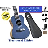 """Kalena Factory Direct Ukulele with instruction book, strap, tuner, extra strings, felt picks, complete set for all ages (24"""" Concert Traditional, Deepsea Blue)"""