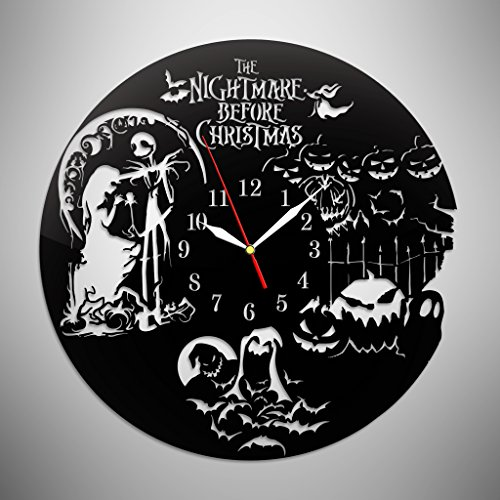 Jack Sally And Zero Costumes (Nightmare before Christmas Jack Skellington Acrylic Wall Clock, Decorate your home or nursery room with Modern Art, Fantasy Movie)