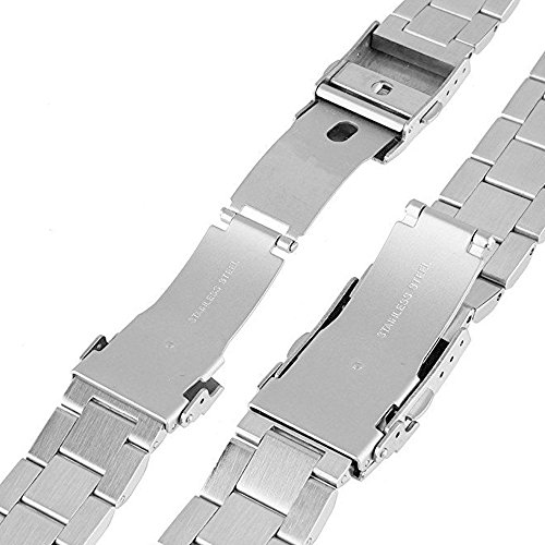 Kai Tian Stainless Steel Watch Strap Polished Matt Finish Watch Band 22mm Double Buckles Clasp Replacement Bracelet Wristband - Silver by Kai Tian (Image #5)