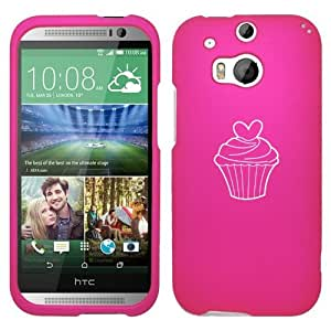 HTC ONE M8 Snap On 2 Piece Rubber Hard Case Cover Valentine Heart Cupcake (Hot Pink)