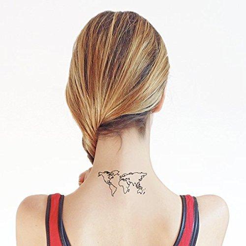 World Map - Temporary tattoo (Set of 2)