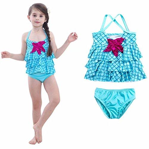 Tsyllyp New Arrivals Little Girls Swimsuit Mermaid Two Piece Tankini Swimwear – DiZiSports Store