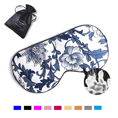 ZIMASILK Adjustable Mulberry Silk Sleep Mask Blindfold 100% Pure Mulberry Silk Eye Mask for Sleep With bag (Blue Flower) (Sleep Mask Eye Silk)