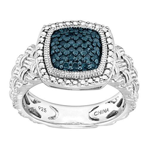 1/4 ct Blue Diamond Braided Cushion Ring in Sterling Silver Size (Womens Braided Cushion)