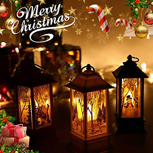 YIMEIS Lovely Street Lamp Festival Decoration - Cute Candle Hanging Flame Light, Creative Snowman Santa Claus Party Lantern Decor for Festival,Boutique,Stores,Home (L,Copper)