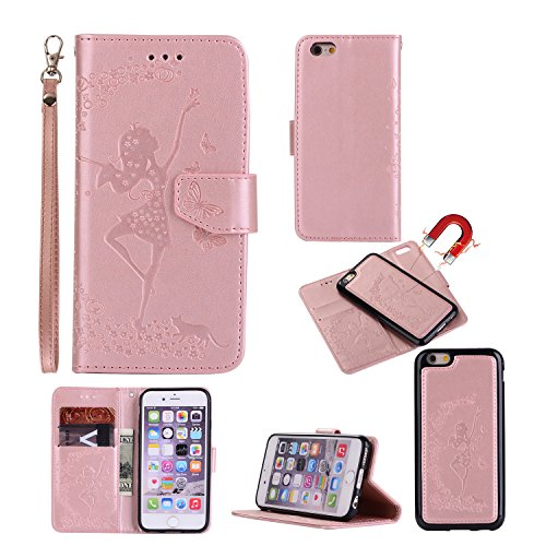 Gostyle iPhone 8 Case,iPhone 7 Flip Detachable 2 in 1 Wallet Case,Embossed Floral Butterfly Pattern Magnetic Leather Case with Credit Card Holder/Slots and Lanyard-Dancing Girl and Cat Rose Gold