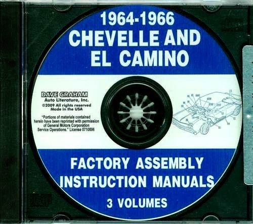 1964 1965 1966 CHEVROLET CHEVELLE, MALIBU & EL CAMINO FACTORY ASSEMBLY INSTRUCTION MANUAL CD. Covers Super Sport, Malibu, Convertibles, 2- & 4-door hardtops, Station Wagons, Super Sports, and El Caminos. CHEVY CHEVROLET 64 65 66