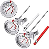 Kitchen & Housewares : 2 Pieces Stainless Steel Thermometer Instant Read 2 Inch Dial Thermometer 7.8 and 11.8 Inch Long Stem Fry Thermometer with Metal Retaining Clip and 2 Pieces Plastic Sleeves for Turkey BBQ Grill
