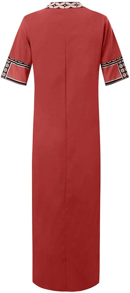 Kaftan Dresses For Womens/'s Printed Long Sleeve V-neck Maxi Dress Hem Baggy Kaftan Long Dress For Anniversary,Party,Valentines Day Black,XXXXL