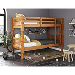 Bedroom Palace Imports 100% Solid Wood Dakota Twin Over Twin Bunk Bed, Honey Pine, 4″ Posts, 8 Slats Included. Optional Pack of 18 Slats, Trundle, Drawers, Rail Guard Sold Separately. Requires Assembly. bunk beds