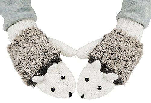 Winter Warm Women Hedgehog Cartoon Animal Mitten Gloves,White