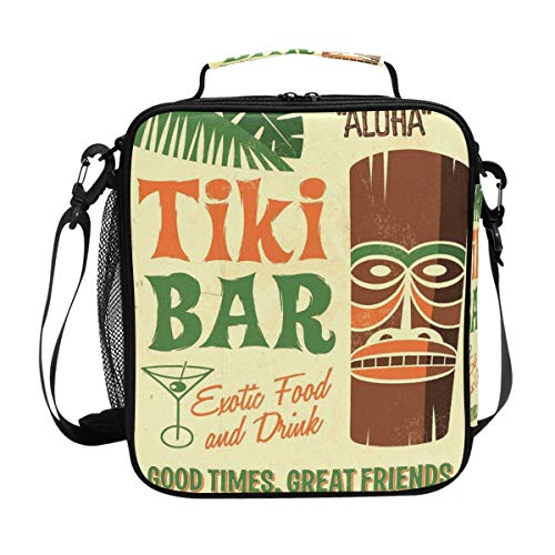 Square Lunch Box Tiki Bar Fine Bead Canvas Lunch Tote Bag Reusable Lunch Box with Zip Closure Cooler Bag for Adult Work Picnic Fishing Camping