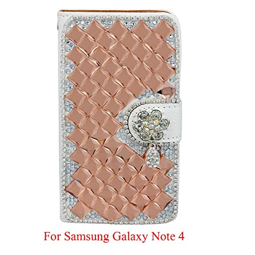 xhorizon ZA5 Light Orange Shining Bling Glitter Charming Diamonds Rhinestone Floral Pendant Lichee Pattern Leather Wallet Magnetic Closure Stand Function Phone Case Cover For iPhone 4/4S/5/5S/6/6Plus Samsung S3/S3mini/S4/S4mini/S5/S6/S6 Edge Note 2/3/4 LG G2 G3 Sony Xperia Z3 HTC One M9 with Credit/Bussiness/ID Card Holder & Cash Holder & xhorizon Stylus