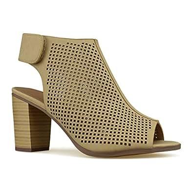 Women's Cut Out Velcro Strap Bootie - Slip On Low Stacked Heel - Open Peep Toe Cutout Shoe