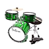 De Rosa DRM312-GR Children's 3-Piece 12-Inch Drum Set with Chair, Green