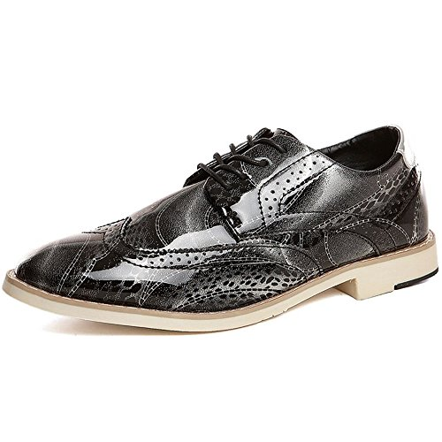 Xujw-shoes, 2018 Schuhe Herren, Herren Oxfords Flache Ferse Lace up Spitzschuh PU-Leder Business Freizeitschuhe (Farbe : Gold, Größe : 42EU) Silber-