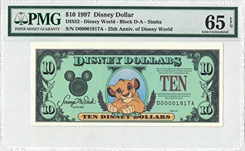 Disney Dollar 1997 $10 Simba D00001917A PMG 65 EPQ Gem (Pmg 65 Gem)