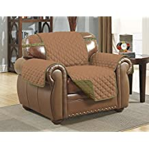 Linen Store Quilted Reversible Microfiber Pet Furniture Protector Cover With Strap, Sage/Tan, Chair