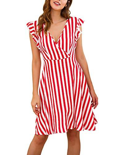 (Women's Short Sleeve Striped Vintage Casual Flowy Midi Belt Dress)