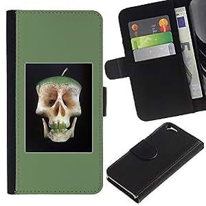 EJOY---La carpeta del tirón la caja de cuero de alta calidad de la PU Caso protector / Apple Iphone 6 / --Manzana doctor Away Muerte Cráneo Core