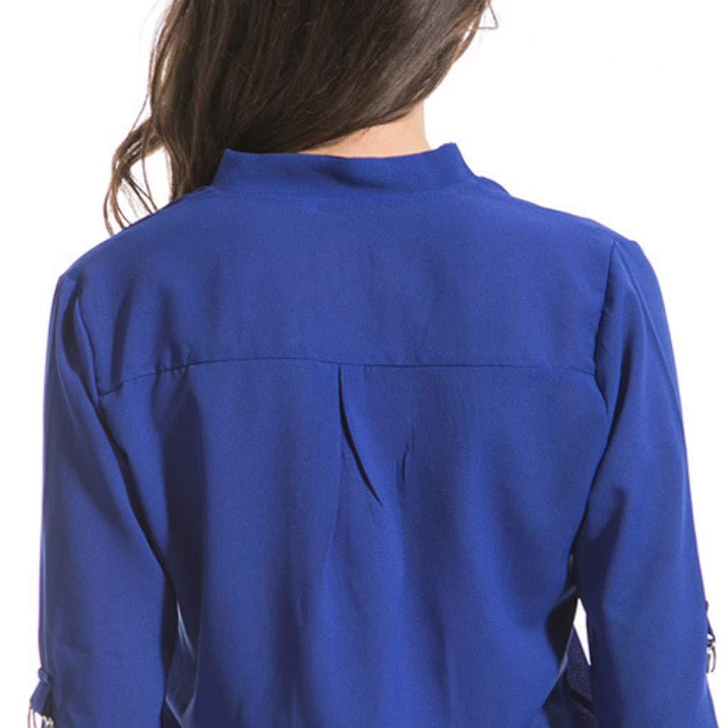 Keliay Cute Womens Tops Summer,Women Fashion S-6XL Long Sleeve Chiffon Shirt Tops V-Neck Casual Blouse Blue by Keliay (Image #7)