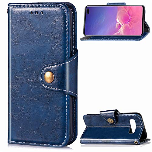 DAMONDY Galaxy S10 Plus Case,Retro Business Stand Wallet Purse Card ID Holders Design Flip Cover TPU Soft Bumper PU Leather Magnetic for Samsung Galaxy S10 Plus 2019 Release-Blue