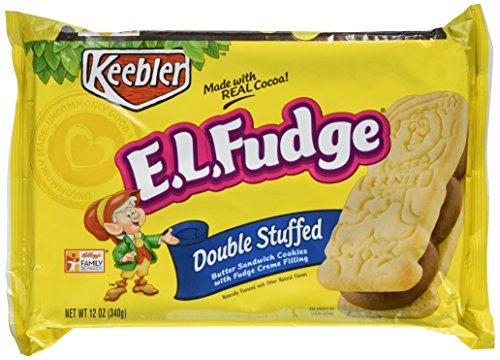 Double Fudge Cookies (E.L. Fudge Butter Sandwich Cookies with Fudge Creme Filling, Double Stuffed, 12-Ounce Packages (Pack of 6))