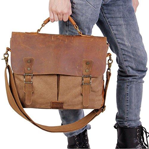 Lifewit Men s Briefcase Vintage Leather Laptop Bag Canvas Messenger School  Satchel Work Bags Fit up to b3f397c4c8