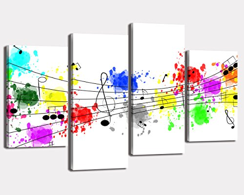 NAN Wind 4Pcs Giclee Canvas Prints Artwork Abstract Colorful Graffiti Music Notes Clef Pictures Photo Paintings on Canvas Wall Art for Home Wall Decor