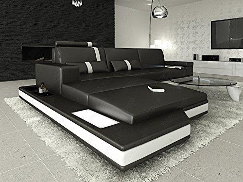 Divano Nero E Bianco : Divanova divano moderno proxima angolare in vera pelle e