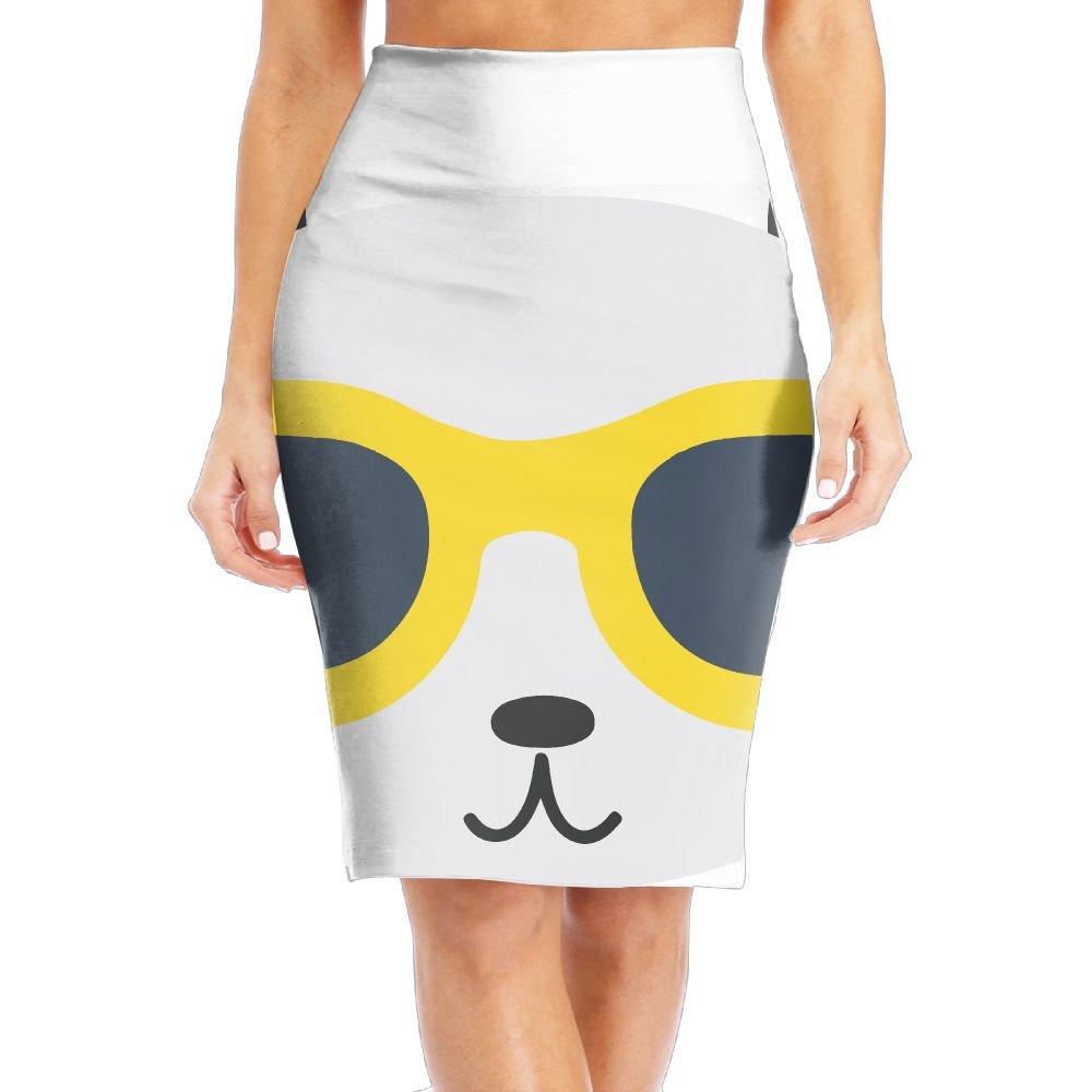 Panda Wearing Glasses Women's Fashion Printed Pencil Skirt