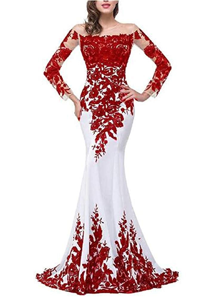 Red Yuki Isabelle Women's Lace Appliques Mother of The Bride Dress Formal Wedding Evening Gowns with Sleeves