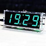 FidgetFidget Digital Desktop Clock Electronic New 4-digit LED DIY Kit Transparent Case K3I2 Green