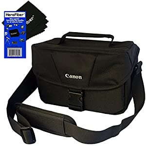Canon Well Padded Compact Multi Compartment SLR Digital Camera Gadget Bag with Adjustable Shoulder Strap + HeroFiber Ultra Gentle Cleaning Cloth for Canon Digital SLR Cameras