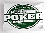 Lunarable Poker Tournament Pillow Sham, Let's Play Poker Stamp with Royal Flush Grunge Vintage Full House Retro, Decorative Standard King Size Printed Pillowcase, 36 X 20 inches, Green White