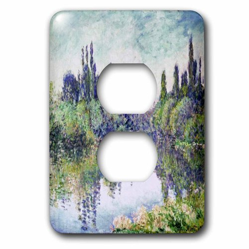 """3dRose lsp_204173_6""""""""Print Of Monet Painting Morning On The Seine"""" 2 Plug Outlet Cover"""