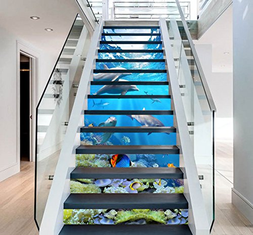 3D Dolphin Ocean View 6411 Stair Risers Decoration Photo Mural Vinyl Decal Wallpaper Murals Wallpaper Mural US Lemon (15x H:18cm x W:94cm (7''x37'')) by AJ WALLPAPER