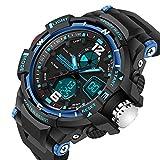 SANDA Waterproof Dual Display LED Sports Military Watches Men's Analog Quartz Digital Watch (blue)