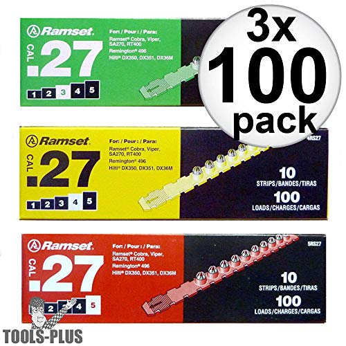 27 Cal Load Strip - Ramset 3RS27-X3 3 x 10 Strips of 10 Green, Yellow, Red 27 cal Strip Loads