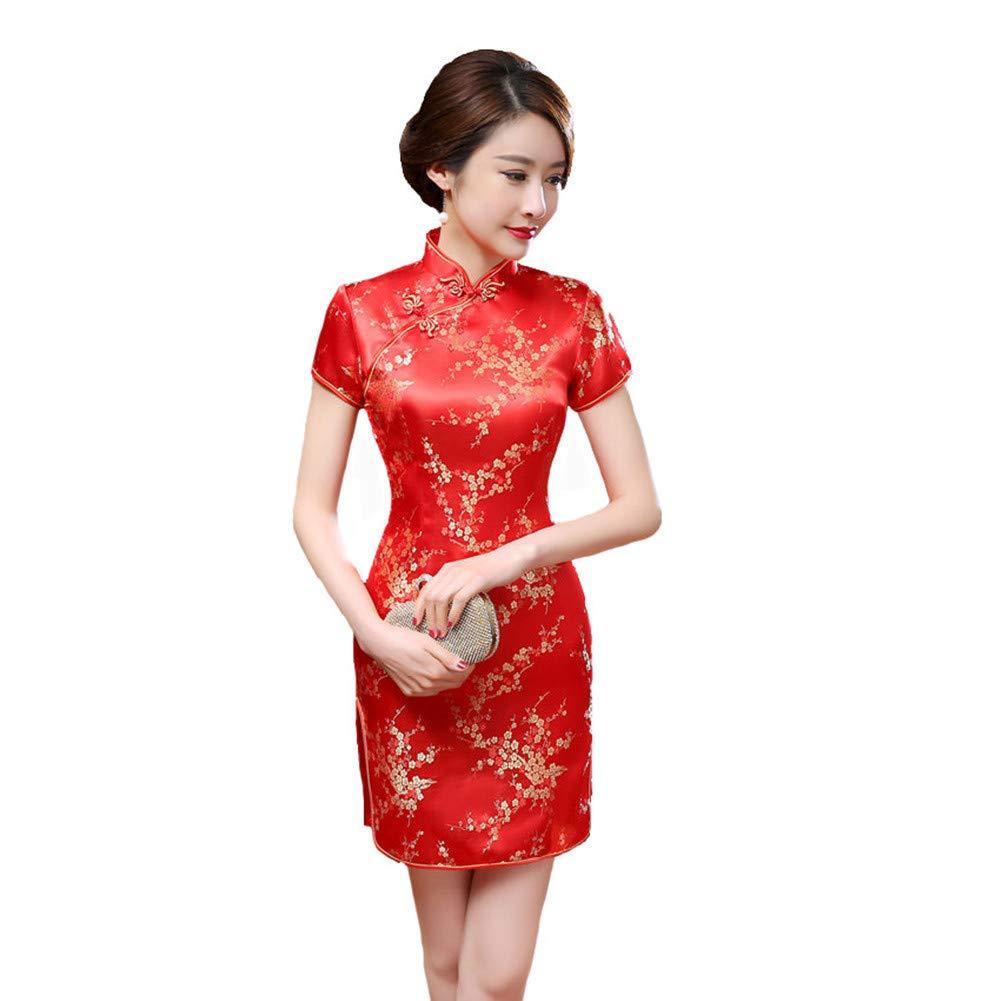 396a47b5c Amazon.com: Red Chinese Women Traditional Dress Silk Satin Cheongsam Mini  Sexy Qipao Flower Wedding Dress: Clothing