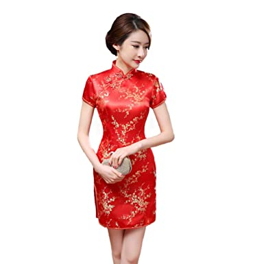 396a47b5c Amazon.com: Red Chinese Women Traditional Dress Silk Satin Cheongsam Mini  Sexy Qipao Flower Wedding Dress: Clothing