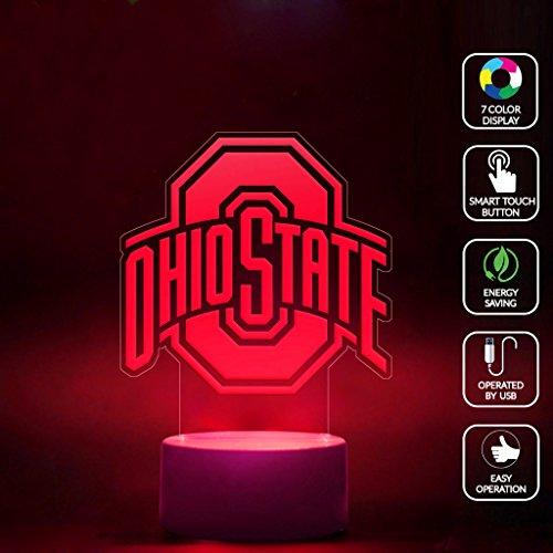 CMLART Ohio State Logo 3d Lamp Night 7 Color Change Best Gift Night Light LED Furnish Desk Table Lighting Home Decoration - Desk State Lamp Ohio