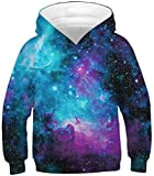 Sucor Girls 3D Galaxy Hoodies for Kids Cool Pullover Sweatshirt Sweater Outwear(L,Blue Galaxy)