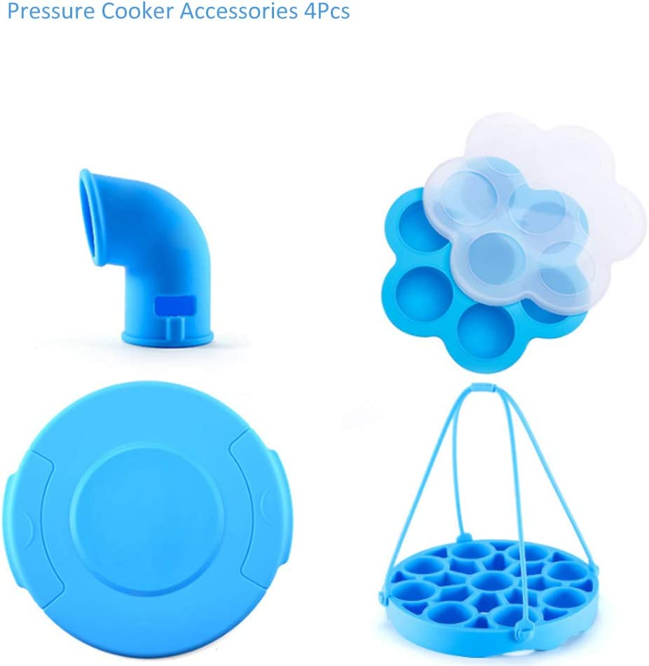 Pressure Cooker Accessories for Instant Pot Silicone Pot Steam Splitter, Pot Cover, Pressure Cooker Sling and Egg Bites Mold Home Kitchen Freezer Accessory(Blue)