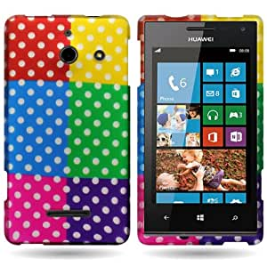 CoverON® Hard Slim Design Case for Huawei W1 - with Cover Removal Pry Tool - Red Blue Purple Colorful Polka Dot